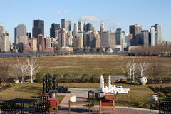 Parti di scacchi e di New York City Fotografia Stock Libera da Diritti