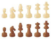 Parti di scacchi isolate su bianco Fotografia Stock Libera da Diritti