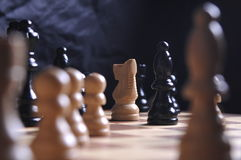 Parti di scacchi sulla scheda Fotografia Stock Libera da Diritti