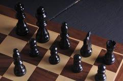 Parti di scacchi sulla scheda Fotografie Stock