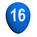 16 parti för födelsedag för ballongshower sött sexton Royaltyfria Foton