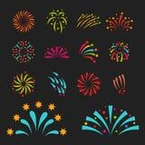 Parti för ljus för explosion för natt för händelse för ferie för beröm för fyrverkerivektorillustration festligt Arkivbild