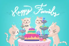 Parti för lycklig födelsedag, gullig kattungefamiljberöm, konfetti som faller, förtjusande djur, ferie för samling för kattteckna royaltyfri illustrationer