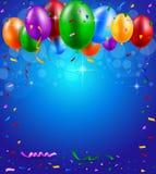 Parti för lycklig födelsedag med ballonger och bandbakgrund Royaltyfri Foto