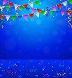 Parti för lycklig födelsedag med triangelflagga- och konfettibakgrund Royaltyfri Illustrationer
