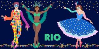 Parti för nattRio de Janeirokarneval Mall för affischer, baner, biljetter, kort, inbjudningar vektor illustrationer