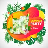 Parti för sommar för vektoraffischstrand med par av den Mojito coctailen stock illustrationer