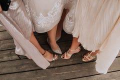Parti för tre klänningar för kvinnliga benskor vitt Royaltyfri Foto