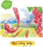 Parti för vinprovning, vattenfärg Stock Illustrationer