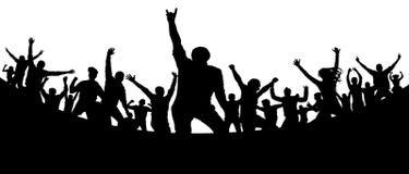 Parti konsert, dans, gyckel Folkmassa av folkkonturvektorn Gladlynt ungdom stock illustrationer