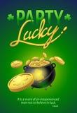 Parti Lucky Poster, Sts Patrick typografisk bakgrund för dag Arkivbild
