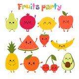 Parti med dansfrukter Utdragna kawaiifrukter för gullig hand Sund stilsamling Plan stil Vegetarisk mat cartoon stock illustrationer