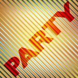 `-Parti` på en randig bakgrund Modell för vektordiagram Royaltyfri Foto