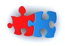 Parti rosse e blu di puzzle Fotografia Stock Libera da Diritti