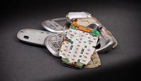 Parti rotte del telefono delle cellule Fotografia Stock