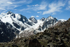 Parti superiori e ghiacciai della montagna Immagini Stock Libere da Diritti