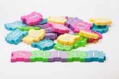 Parti variopinte di puzzle Fotografia Stock