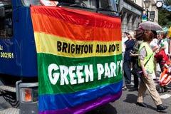 Parti Vert dans la fierté homosexuelle 2011 de Brighton Images stock