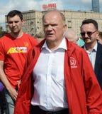 Partia Komunistyczna lider Gennady Zyuganov przy prasowym festiwalem w Moskwa Zdjęcie Stock