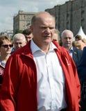 Partia Komunistyczna lider Gennady Zyuganov przy prasowym festiwalem w Moskwa Obrazy Stock