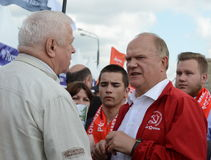 Partia Komunistyczna lider Gennady Zyuganov przy prasowym festiwalem w Moskwa Obrazy Royalty Free