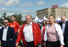 Partia Komunistyczna lider Gennady Zyuganov przy prasowym festiwalem w Moskwa Obraz Stock