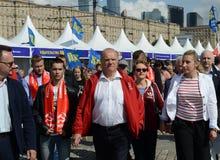 Partia Komunistyczna lider Gennady Zyuganov przy prasowym festiwalem w Moskwa Obraz Royalty Free