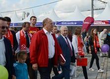 Partia Komunistyczna lider Gennady Zyuganov przy prasowym festiwalem w Moskwa Fotografia Stock