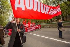 Partia komunistyczna zwolennicy wraz z Krajowymi bolszewikami brali udział w zlotnym ocechowaniu Maja dzień Zdjęcia Royalty Free