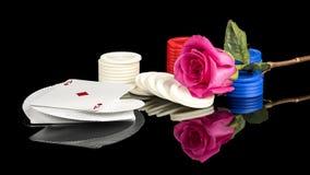 Partia pokeru która zawiera różowi różanego Obrazy Royalty Free