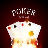 Partia pokeru projekta szablonu plakat Płomienia grzebaka kasynowy projekt z kartami i układami scalonymi ilustracja wektor
