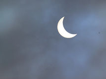 Partial solar eclipse of the sun. A partial solar eclipse of the sun. this was taken at nine thirty a.m. in the United Kingdom on Friday 20th March, 2015 Stock Image