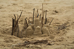 Partial Fortress Sand Castle. Partial fortress of a sand castle on the beach in Matagorda, Texas stock image