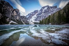 Partial freeze braies lake Royalty Free Stock Photography