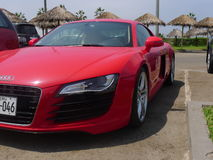 Partial front left side view of an Audi R8 V8 FSi coupe. Stock Photos