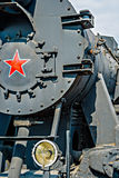 Partial frontal view of a steam locomotive. Gray metal boiler an Royalty Free Stock Image