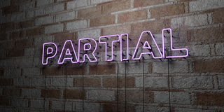 PARTIAL - Glowing Neon Sign on stonework wall - 3D rendered royalty free stock illustration. Can be used for online banner ads and direct mailers Stock Photography