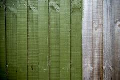 Partial Green timber fence background Stock Image