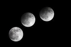 Partial Lunar eclipse observed at 21:53:42 to 23:00:33, Bahrain 25 April 2013 Stock Image