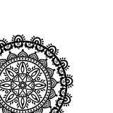 Partial Mandala in the shape of the native culture inspired dreamcatcher made out of swirly elements in black and white symbolizin Royalty Free Stock Photo