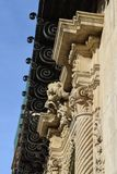 Partial plan of a historic facade. With deep blue sky above Royalty Free Stock Images