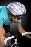 Partial portrait of young caucasian female cyclist athlete shot Stock Images