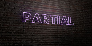 PARTIAL -Realistic Neon Sign on Brick Wall background - 3D rendered royalty free stock image. Can be used for online banner ads and direct mailers Royalty Free Stock Image