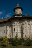 Partial side view of Probota monastery. In Bukovina, (Bucovina), Moldavia (Moldova Stock Image