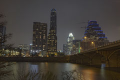 Partial skyline of Austin, Texas at night Stock Images