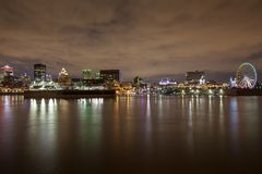 Partial skyline view on historical Old Montreal and the Montreal skyline royalty free stock images