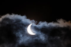 Partial solar eclipse through clouds Royalty Free Stock Photography