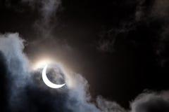 Partial solar eclipse through clouds. Partial solar eclipse viewed through clouds Royalty Free Stock Photos