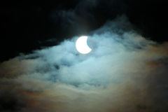 Partial Solar Eclipse 20.03.2015 on a Cloudy Day. Scientific background, astronomical phenomenon Royalty Free Stock Photo