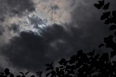 Partial Solar Eclipse through Dark Clouds with Tree Silhouette royalty free stock photos